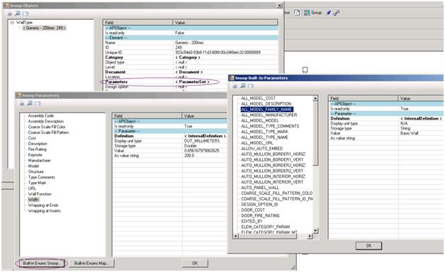 Built-in parameters snoop tool