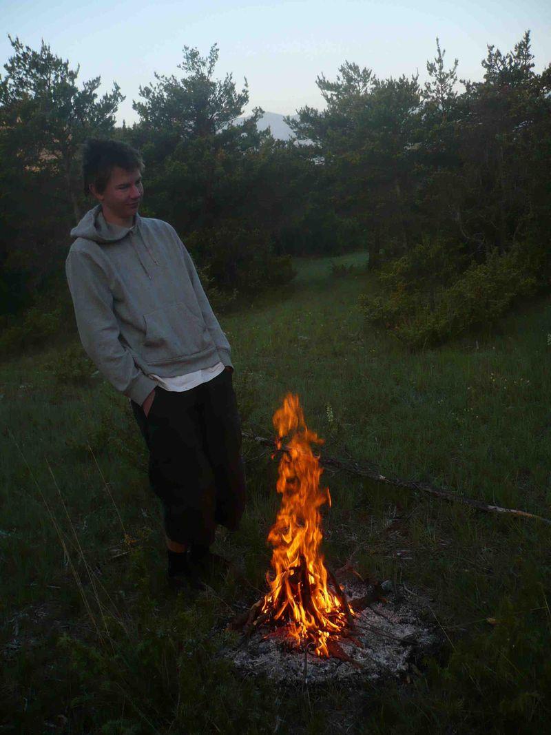 Cornelius at the camp fire near Rosans