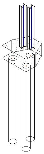 Pile cap foundation and columns