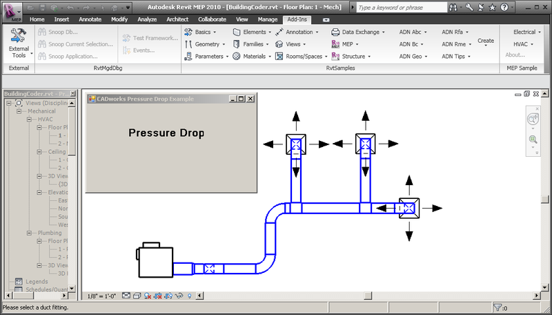The building coder modeless pressure drop tool