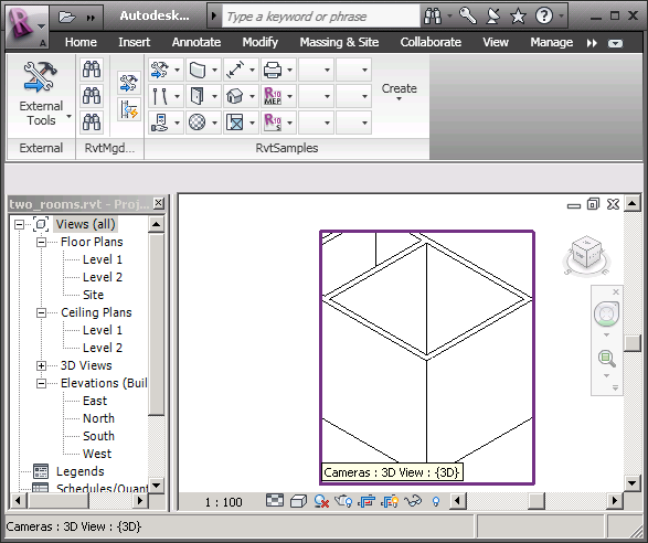 3D view crop box set to first room extents