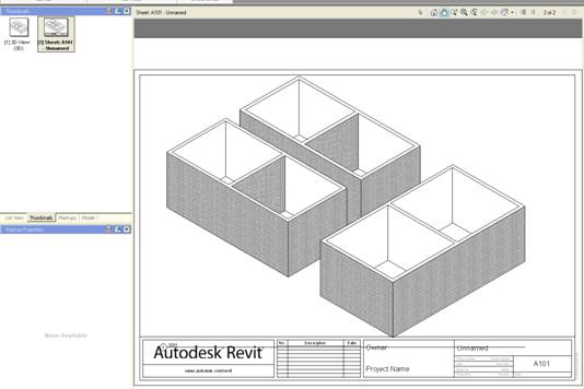 2D DWF sheet displaying 3D Revit View