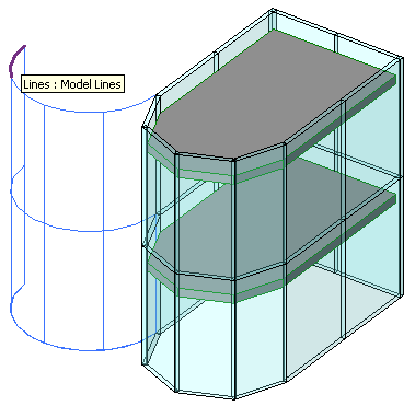 Model lines generated from curtain wall perimeter curves offset by wall length