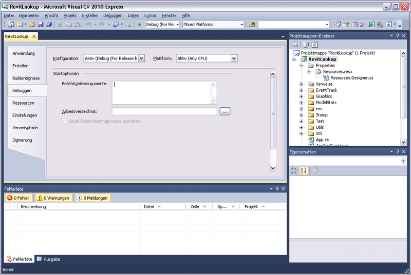 Visual Studio 2010 Express debgging tab