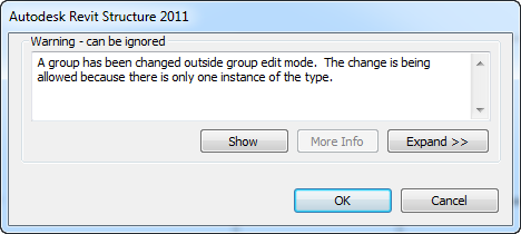 Group edit mode message
