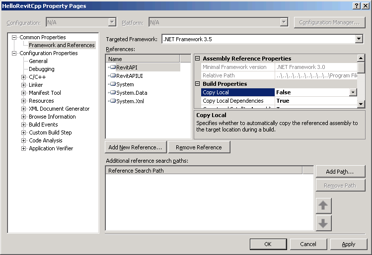 Adding Revit API assembly references