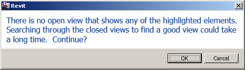 Revit asking whether to search for a suitable view