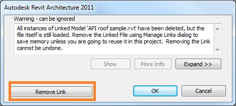 Delete linked RVT file dialogue