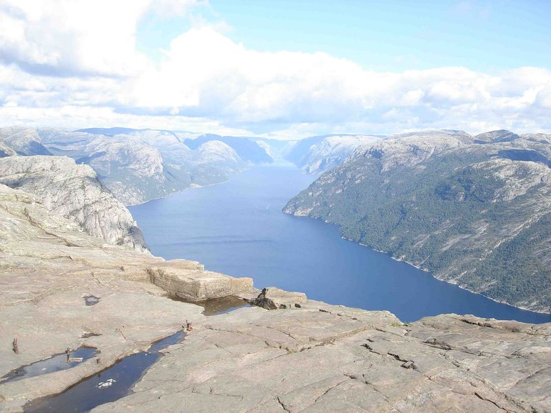 The view from Preikestolen down into Lysefjord