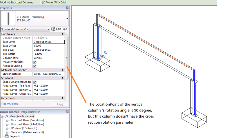 Vertical column properties lack rotation information