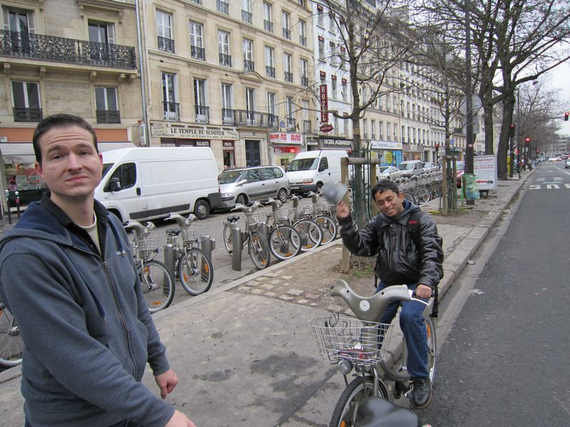 Adam and Partha enjoying the rental bicycles