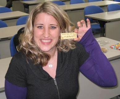 Kristine's card and brilliant smile