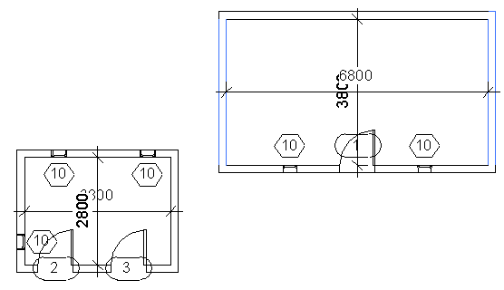 Dimensioning two opposing walls