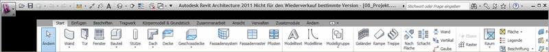 Revit ribbon bar with translation transform