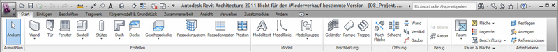 Revit ribbon bar in default state