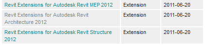 Revit 2012 Extensions