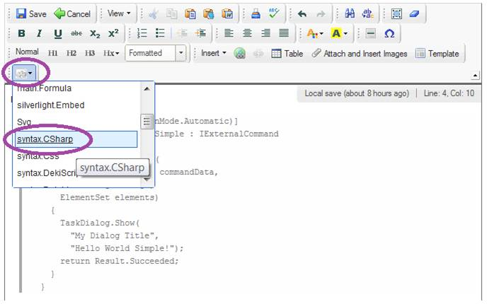 Select source code language