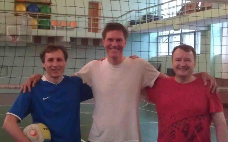 Rustam, Marat, Jeremy and the volleyball