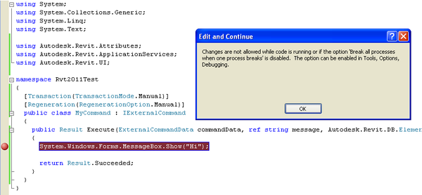 The Building Coder: Debugging an Add-in Without Restarting Revit