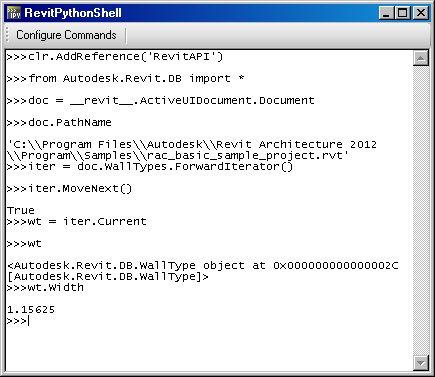 RevitPythonShell console in Revit 2012