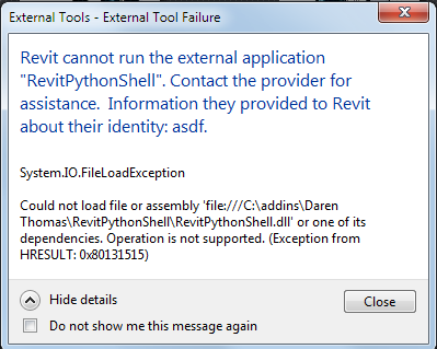 FileLoadException running RevitPythonTool