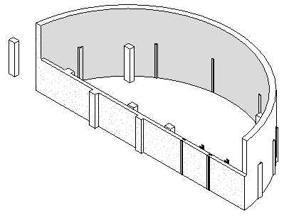 3D view of wall and column intersections