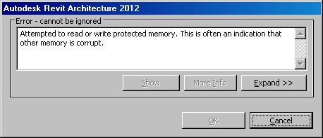 Error message on opening ADSK file