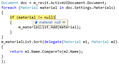 Null entry in Materials collection
