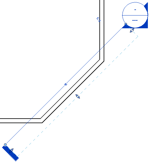 Dotted line offset from wall center