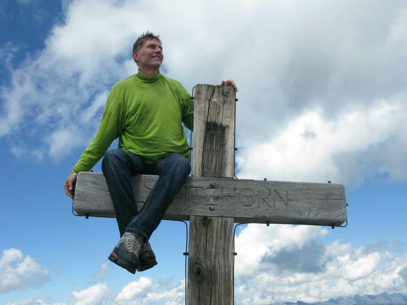Jeremy on Spitzhorn peak cross