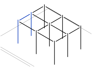 Two columns and a beam selected to create assembly