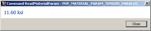 Material asset parameter value