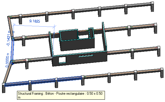System of non-connected but touching beams