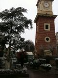 Poirone clock tower with snow