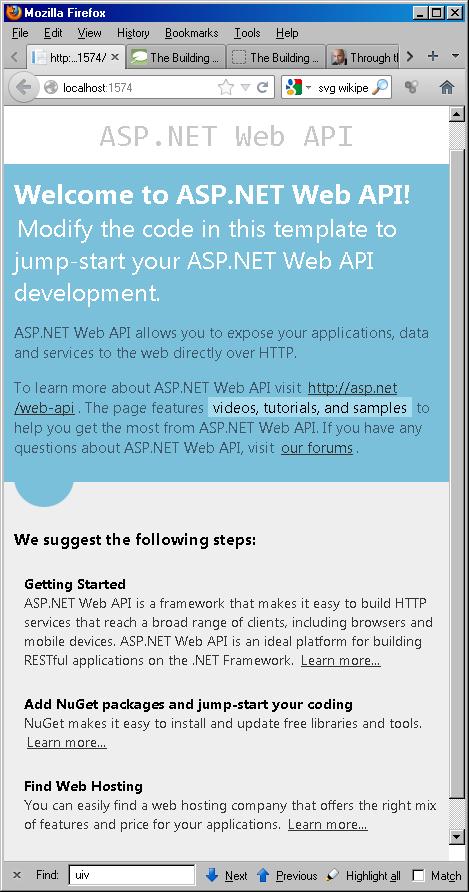 ASP.NET default home page
