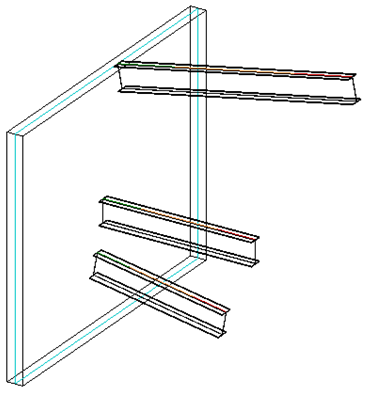 Inclined beams 3D view