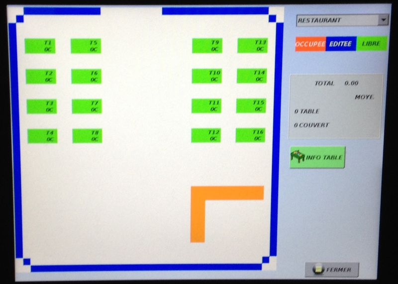 Restaurant cash register screen snapshot