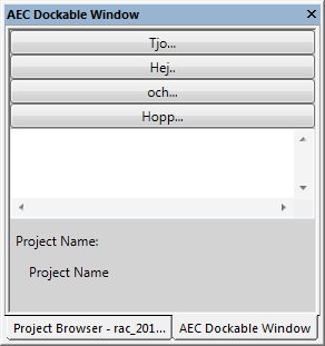 Dockable panel in project browser floating window