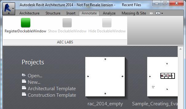 Register dockable panel in zero document state