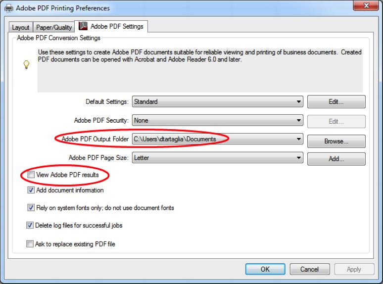 Adobe PDF Print Preferences