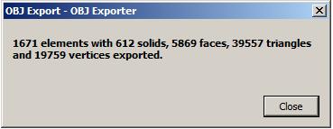 OBJ exporter result in RAC basic sample model