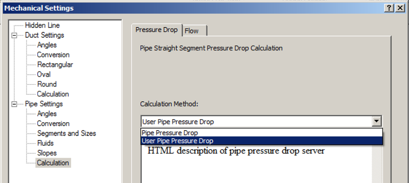 User pipe pressure drop