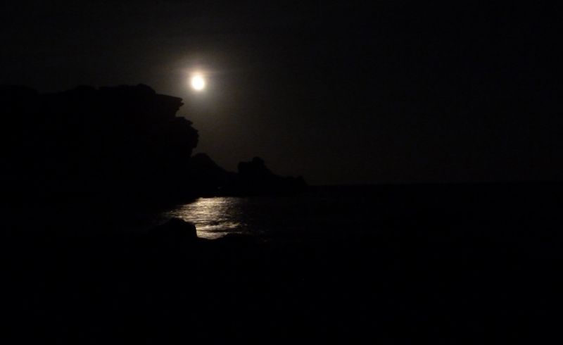 Full moon rising over Cabo de Gata
