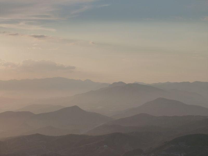Mountain range silhouettes