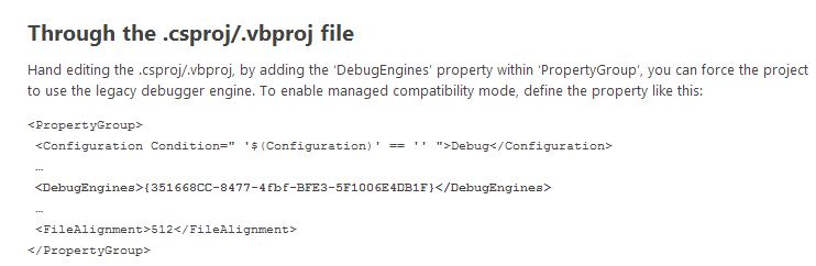 VS 2013 legacy debugger