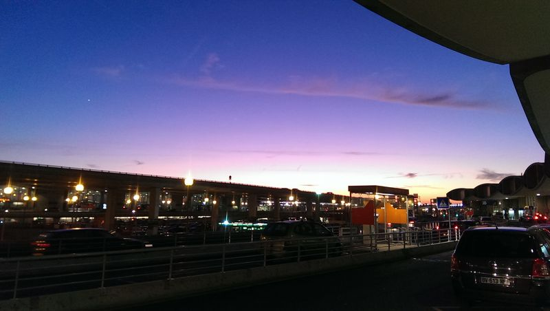 Evening sky at Charles de Gaulle airport
