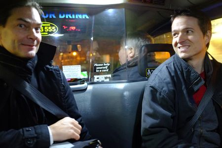 Paavo and Adam in a cab