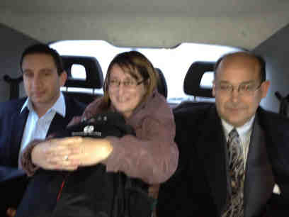 Philippe, Caroline and Jim in a cab
