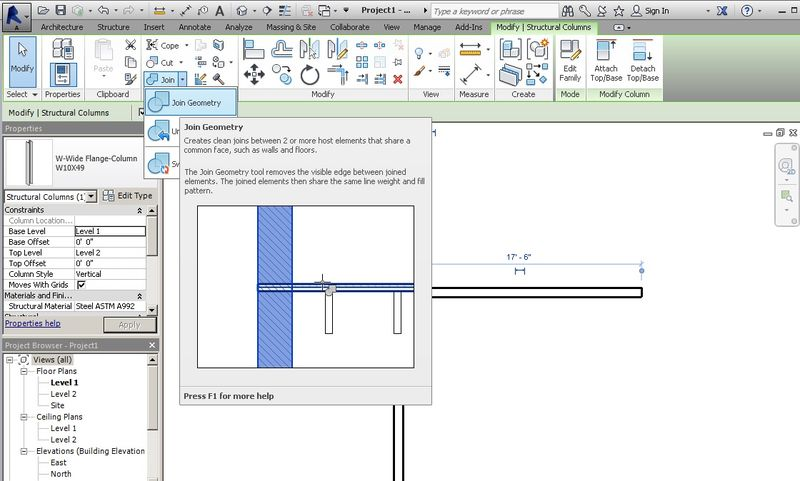 Join Geometry in the Revit user interface