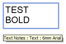 Upper case text note width using factor 1.3